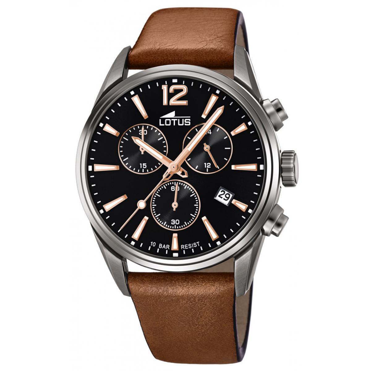 montre lotus l18683 2 chrono dateur chronographe bracelet cuir marron cadran noir homme