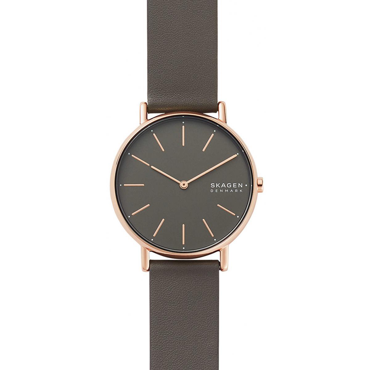 montre skagen skw2794 signatur boitier acier dore rose bracelet cuir gris femme