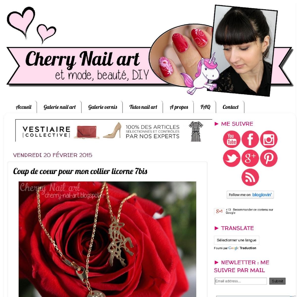 Bijoux 7bis Paris - Cherry Nail art
