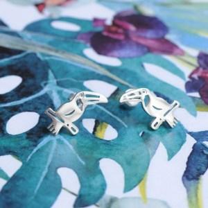 Bijoux 7bis Paris - Boucle d'oreille argenté toucan