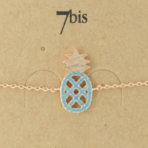 Bijoux 7bis Paris - Bracelet doré ananas collection Oasis