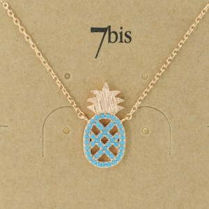 Bijoux 7bis Paris - Collier doré ananas collection Oasis