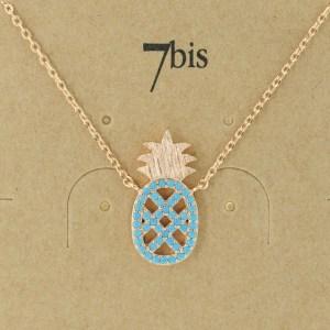 Bijoux 7bis Paris - Collier doré ananas collection Oasis