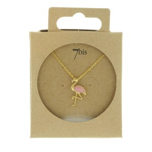 138560DOR Collier Flamant Doré Émail Rose Collection Flamant Rose