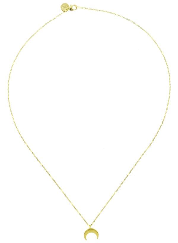 170756DOR Collier Croissant De Lune Doré Corne Ronde