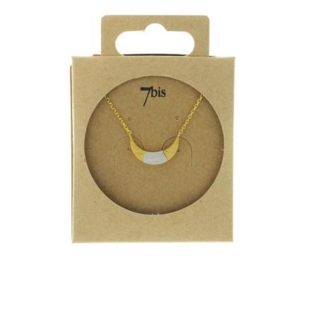 170761DOR Collier Croissant De Lune Doré Bicolore Géométrique