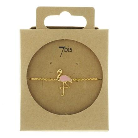 338560DOR Bracelet Flamant Doré Émail Rose Collection Flamant Rose