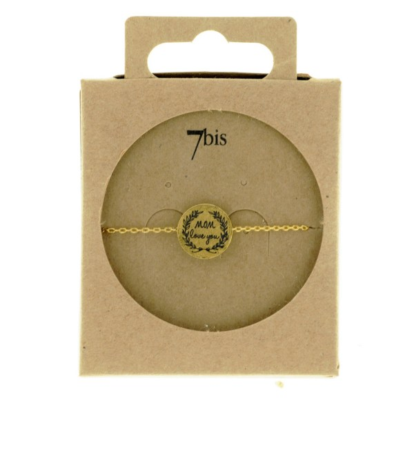 370555DOR Bracelet Médaille Doré Message Mom Love You