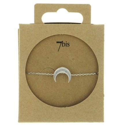 370756ARG Bracelet Croissant De Lune Argenté Corne Ronde