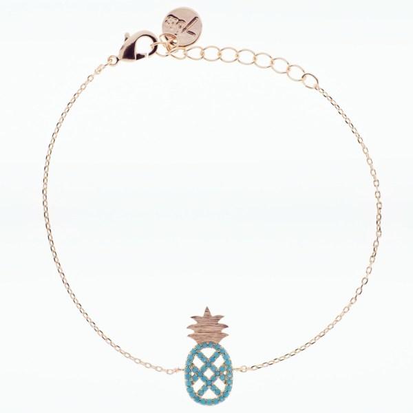 370763TURDORROS Bracelet Ananas Doré Rosé Strassé Turquoise