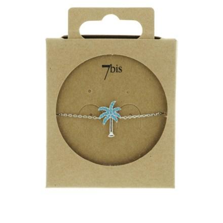 370765TURARG Bracelet Palmier Argenté Strassé Turquoise