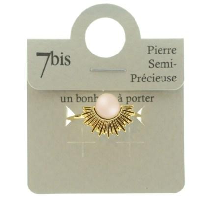 870539ROSDOR Bague Soleil Doré Quartz Rose Pierre Semi Précieuse