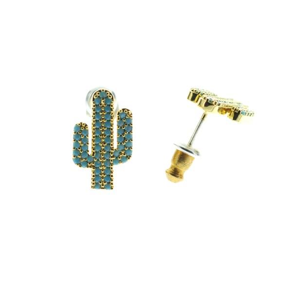 270764TURDOR Boucles D'oreilles Cactus Doré Strassé Turquoise
