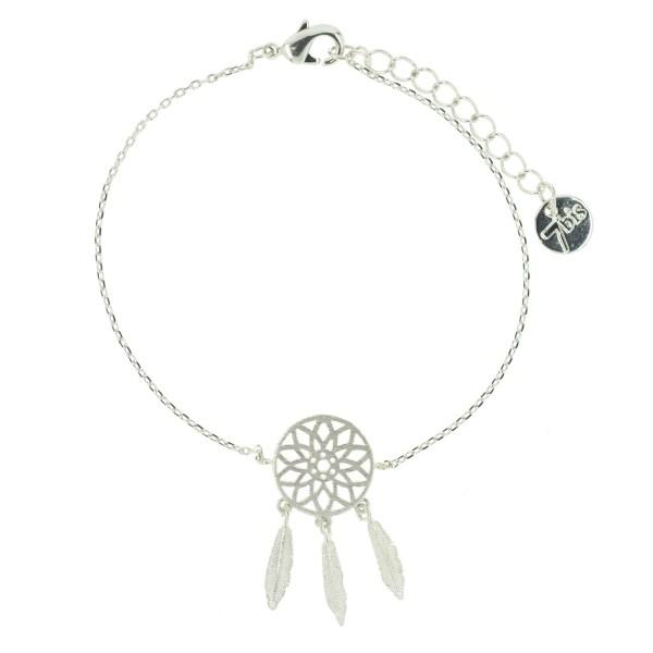 323797ARG Bracelet Dreamcatcher Argenté Plumes Indien
