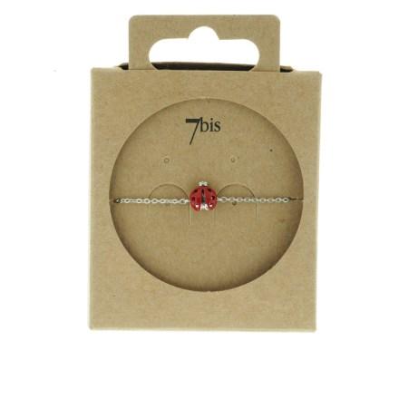 329266ARG Bracelet Coccinelle Argenté Chance Vernis Rouge