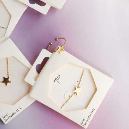 Bijoux 7bis Paris - Bracelet Étoile Doré Discret Acier Inoxydable