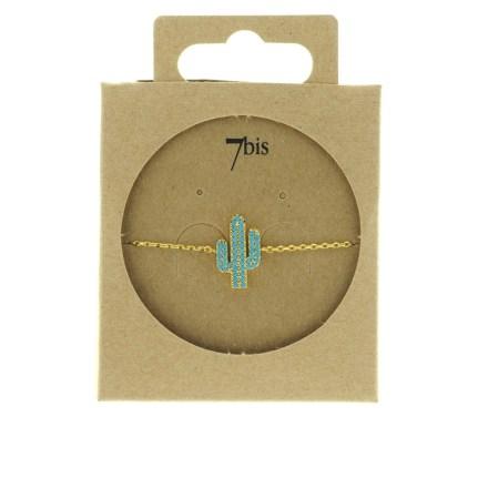370764TURDOR Bracelet Cactus Doré Strassé Turquoise