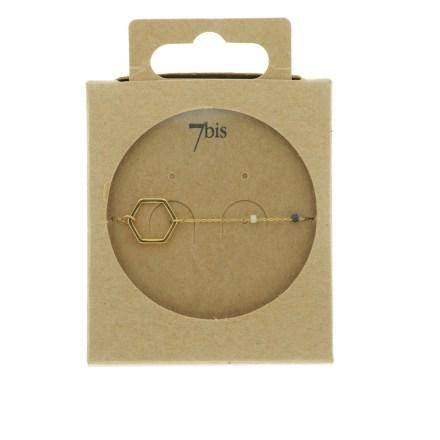 371002NOI Bracelet Hexagone Doré Chaine Fine Perles