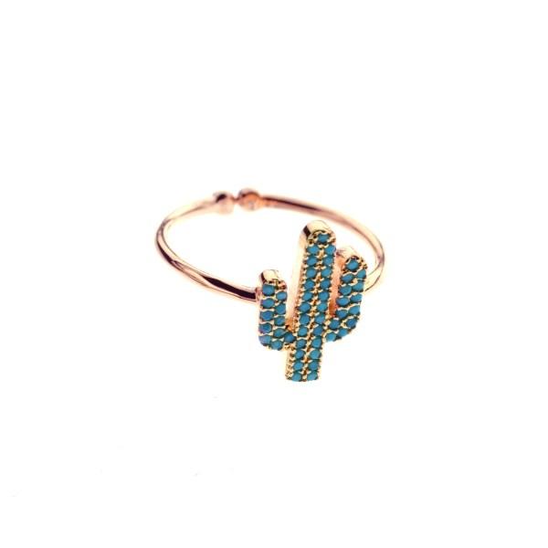 870764TURDORROS Bague Cactus Doré Rosé Strassé Turquoise