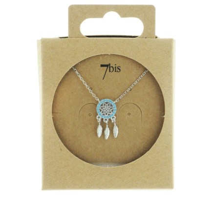 171152TURARG Collier Dreamcatch Turquoise Plumes Articulées Strass