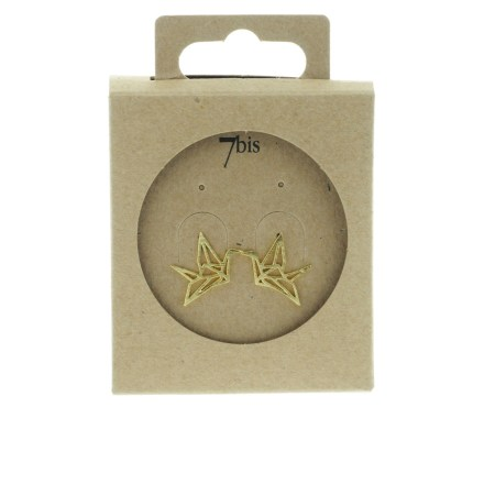 238183DOR Boucles D'oreilles Grue Doré Animal Origami