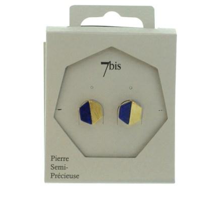 270252BLEDOR Boucles D'oreilles Hexagone Bleu Et Doré Moitié Métal Et Pierre Lapis-lazuli