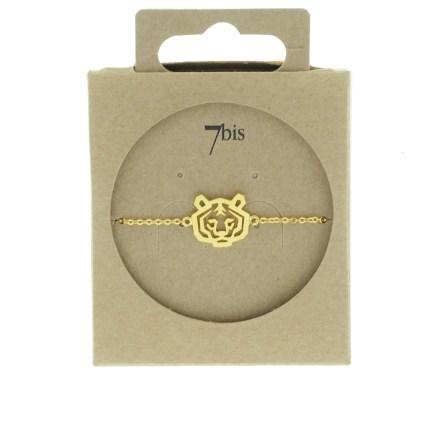 338259DOR Bracelet Tigre Doré Tête-animal Géométrique