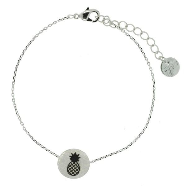 370549ARG Bracelet Ananas Argenté Pendentif Imprimé