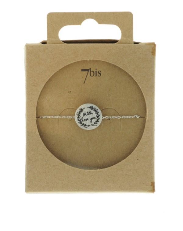 370555ARG Bracelet Mom Love You Argenté Message Imprimé