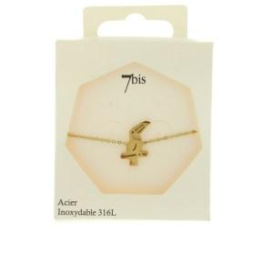 370561DORINX Bracelet Plat Repercé Doré Oiseau Acier Inoxydable