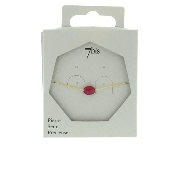 370874FUS Ovale Facetée Naturelle Fushia Chaîne Fine Rhodonite