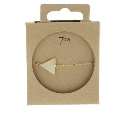 371000PAR Bracelet Triangle Doré Perle Parme Chaîne Fine Miyuki