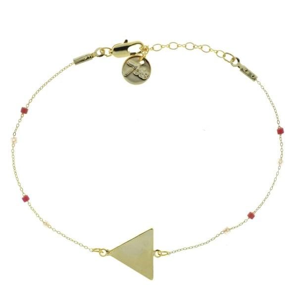 371000ROS Bracelet Triangle Doré Perle Rose Chaîne Fine Miyuki