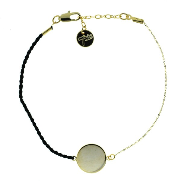 371000NOI Bracelet Triangle Doré Perle Noire Chaîne Fine Miyuki