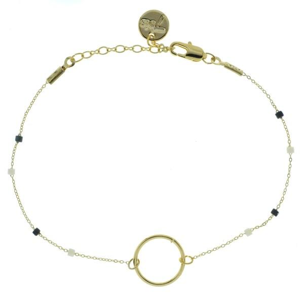 371003NOI Bracelet Anneau Doré Perle Noire Chaîne Fine Miuki