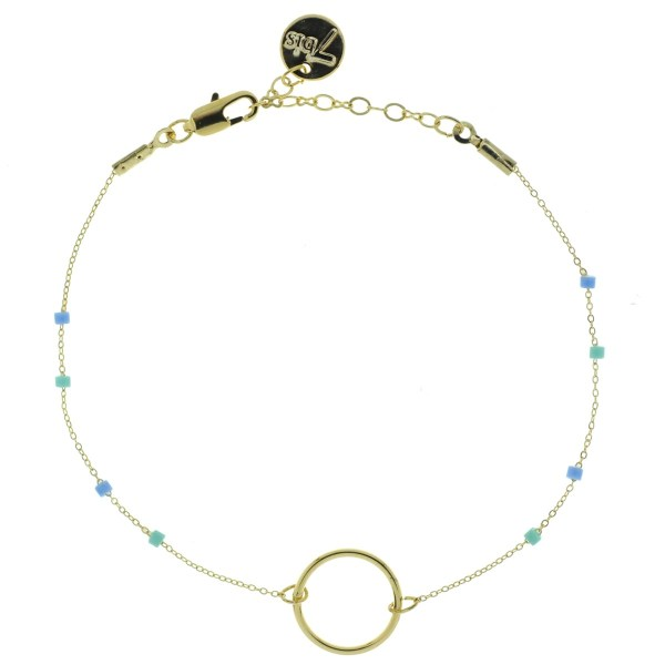 371003TUR Bracelet Anneau Doré Perle Turquoise Chaîne Fine Miyuki