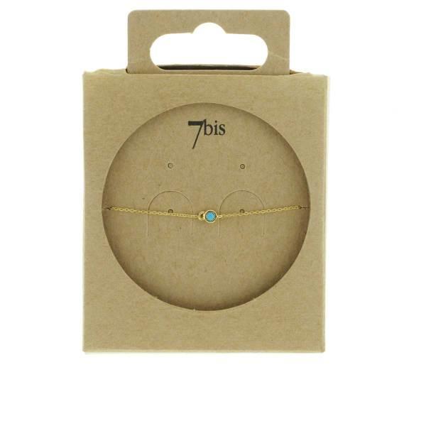 371005TUR Bracelet Pierre En Verre Turquoise Facettée Chaîne Fine