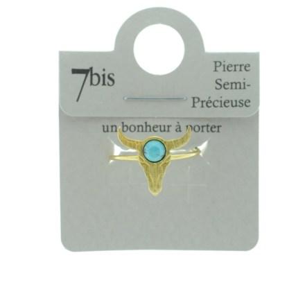 870267TURDOR Bague Tête De Buffle Turquoise Ronde Pierre Semi-précieuse