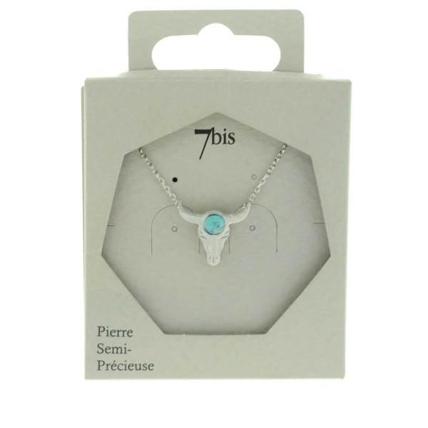 170267TURARG Collier Tête De Buffle Argenté Pierre Ronde Turquoise