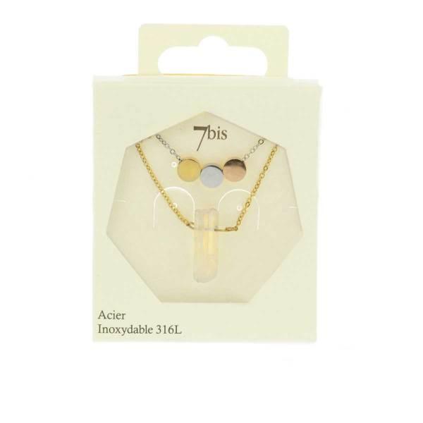 171125MIXINX Collier Pastilles Tricolore Quartz Blanc Acier Inoxydable