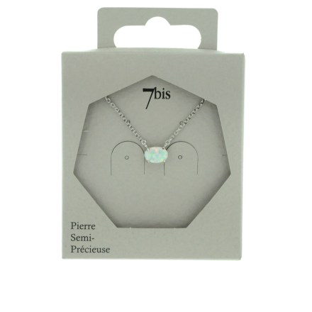 171156BLAARG Collier Opale Ovale Blanche Serti Griffe Argenté