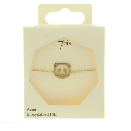 338256DORINX Bracelet Panda Tête-animal Doré Géométrique Acier Inoxydable