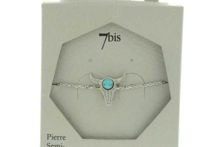 370267TURARG Bracelet Tête De Buffle Argenté Pierre Ronde Turquoise