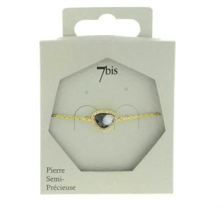 370579NOIDOR Bracelet Pierre Triangulaire Noir Et Doré Contour Strass Zircon