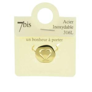 870229DORINX Bague Médaille Doré Cœur Percé Acier Inoxydable
