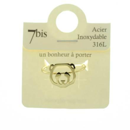 838256DORINX Bague Panda Tête-animal Doré Géométrique Acier Inoxydable