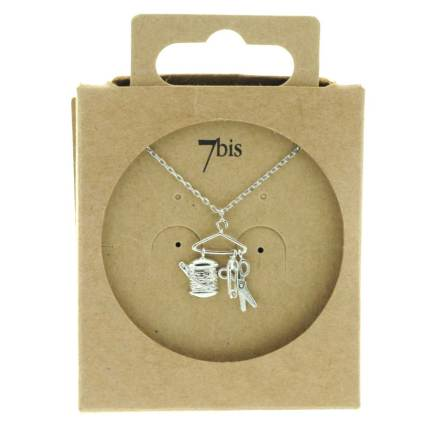 129381ARG Collier Outils Couture Argenté Relief Ciseaux-bobine-épingle-cintre