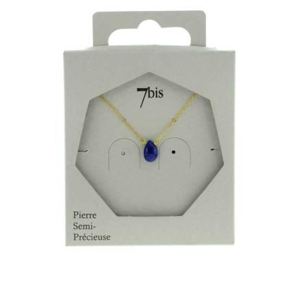 137306BLE Collier Extra Fin Doré Bleu Goutte Lapis-lazuli