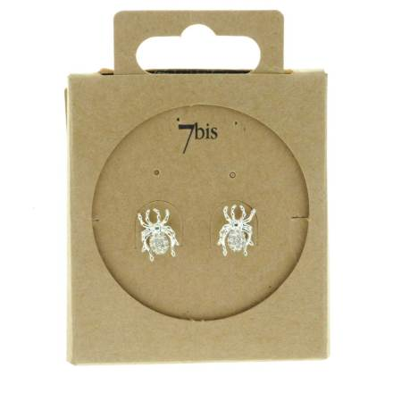 229458ARG Boucles D'oreilles Araignée Argenté Design Joaillarie Strass
