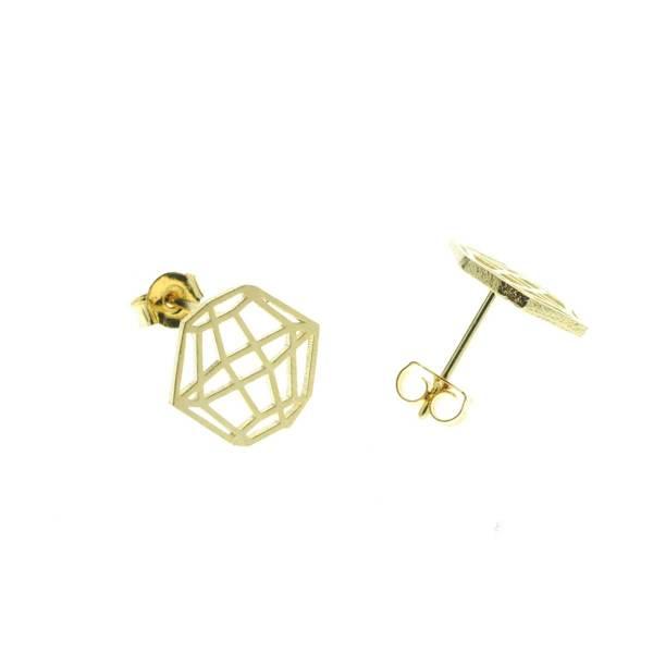 237551DOR Boucles D'oreilles Polygone Doré Cage Géométrique